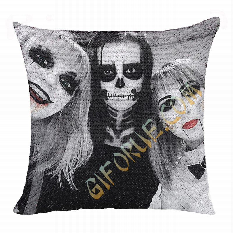 Personalized Terrifying Halloween Makeup Riend Sequin Pillow - Click Image to Close