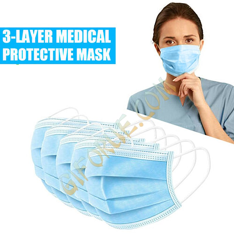 3 Layers Ear-loop Non-woven disposable Masks Mouth Cover 50 Pack - Click Image to Close