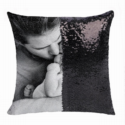 Best Personalised Double Sided Sequin Pillow Son Photo Gift