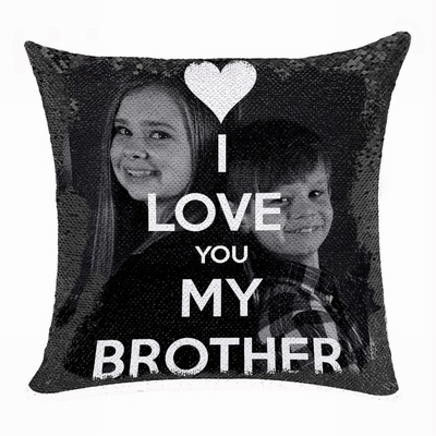 Best Personalized Sequin Pillow Brother Photo Text Gift