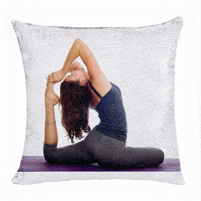 Clever Personalised Flip Sequin Pillow Image Yoga Enthusiast Gift