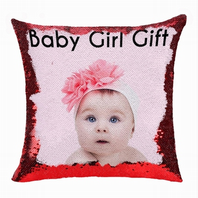 Clever Sequin Pillow Personalized Photo Gift Baby Girl