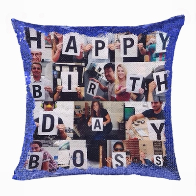 Creative Gift Personalized Photo Sequin Pillow Boss Leader