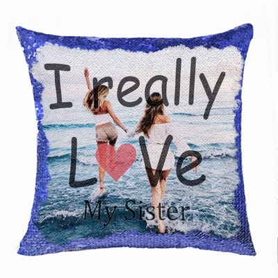 Creative Personalized Sister Gift Image Text Sequin Magic Pillow