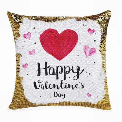 Cute Personalized Valentines Day Gift Picture Text Sequin Pillow
