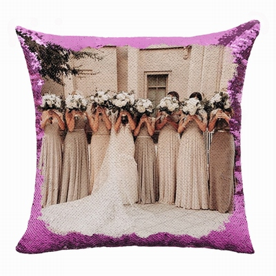 Cute Personalized Photo Text Sequin Pillow Bride Gift