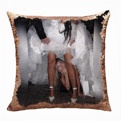 Funny Personalized Photo Text Flip Sequin Cushion Cover Funny Gift