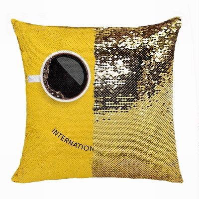 Handmade Double Sided Sequin Pillow Personalised Image Business Gift