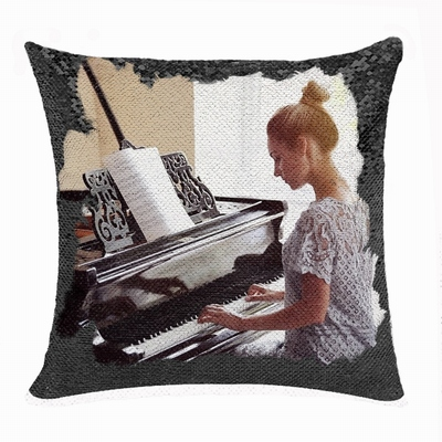 Handmade Double Sided Sequin Pillow Personalised Image Gift Pianist