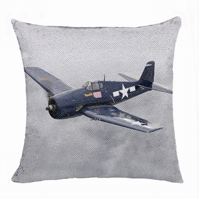 Handmade Personalized Wwii Aircraft Gift Photo Flip Sequin Pillow