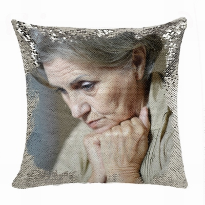 New Design Personalised Flip Sequin Pillow Old Women Photo Gift