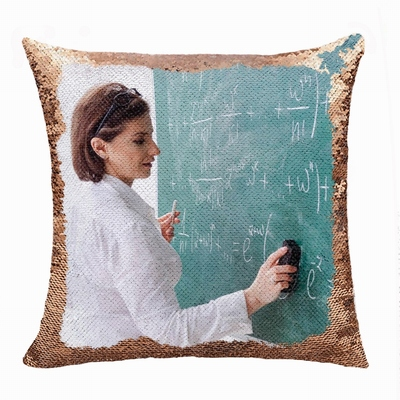 Perfect Gift Personalized Photo Flip Sequin Pillow Teacher