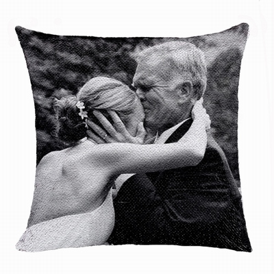 Personalised Grandpa Gift Uncommon Photo Reversible Sequin Pillow
