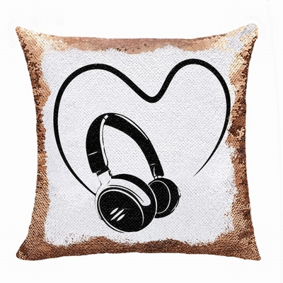 Personalised Love Earphone Gift Image Sequin Cushion Cover