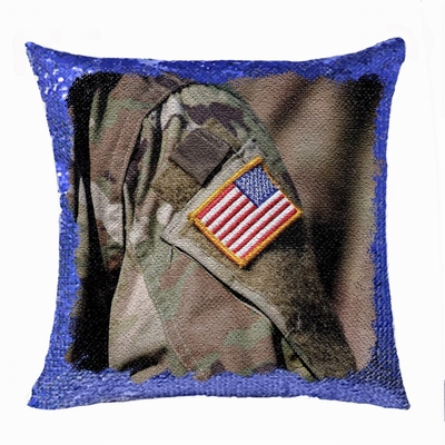 Personalised Military Man Gift Photo Sequin Cushion Cover