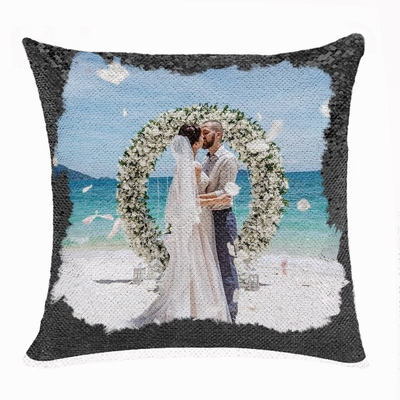 Personalised Photo Reversible Sequin Pillow Wedding Firl Gift
