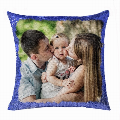 Personalised Picture Double Sided Sequin Pillow Pop Family Gift