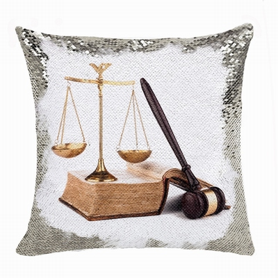 Personalised Picture Text Reversible Sequin Pillow Lawyer Gift