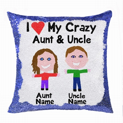 Personalised Picture Text Sequin Cushion Cover Unusual Uncle Gift