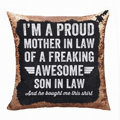 Personalized Gift Top Image Text Sequin Pillow Son In Low