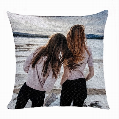 Personalized Gift Free Hide Image Text Flip Sequin Pillow Friends