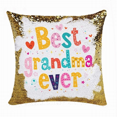 Unique Personalized Picture Text Sequin Pillow Grandma Gift