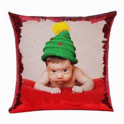 Christmas Handmade Baby Peronalized Gift Cute Photo Sequin Pillow
