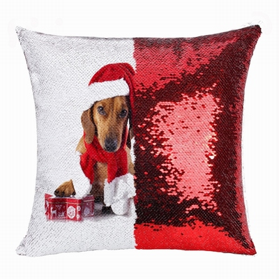 Personalized Christmas Gift Photo Double Sided Sequin Pillow