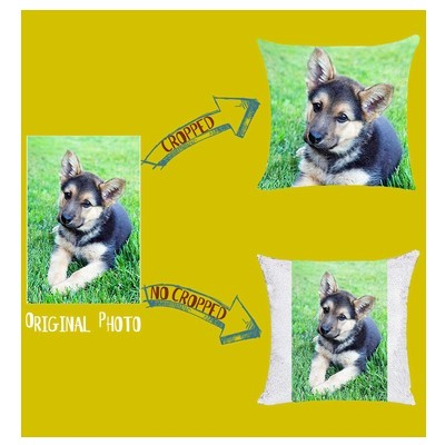Custom Two Photos Sequin Magic Pillow Clever Gift
