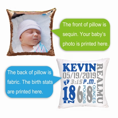 Custom Newborn Birth Announcement Boy Gift Personalized Sequin Pillow