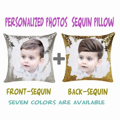Good Customized Gift Sequin Pillow Name Gift Two Photos