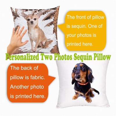 Personalized Two Photos Sequin Pillow Name Custom Gift