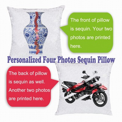 Uncommon Customized Gift Four Photos Sequin Pillow Name Gift