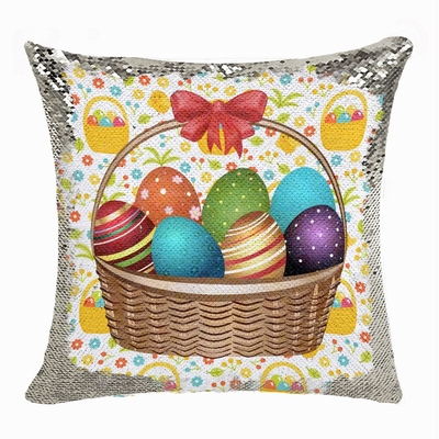 Easter Custom Handmade Gift Eggs Photo Flip Sequin Pillow