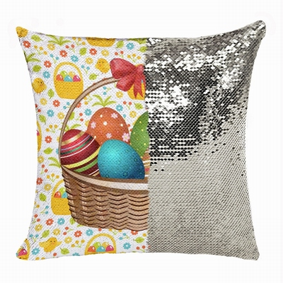 Personalized Easter Personalized Handmade Gift Eggs Sequin Pillow