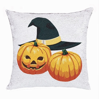 Halloween Clever Present Friend Hide Photo Sequin Pillow