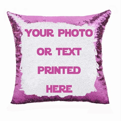 Awesome Custom Sequin Cushion Cover Personalized Gift Photo Text Pillow
