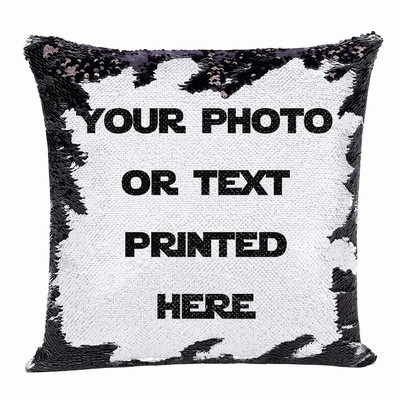 Magic Sequin Pillow Best Personalized Gift Photo Text Custom Pillow