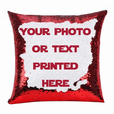 Cheap Custom Made Sequin Cushion Cover Photo Gift Photo Text Pillow