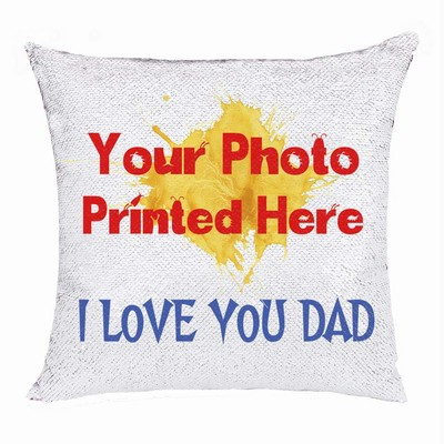 Custom Sequin Magic Cushion Cover Photo Gift For Dad