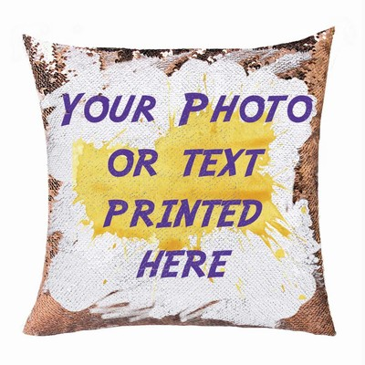 Magic Sequin Pillow Clever Customized Name Photo Gift Hide Message Pillow