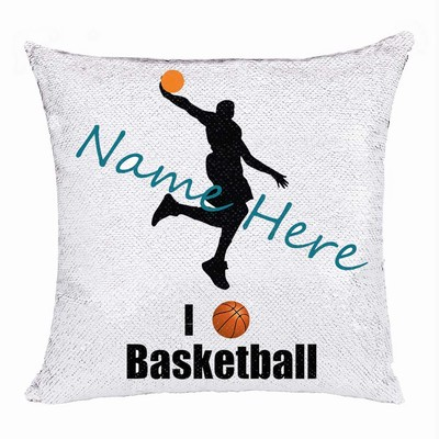 Cool Customized Sequin Pillow Name Gift For Bastketball Fan
