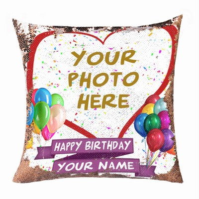 Happy Birthday Baby Cute Custom Sequin Cushion Cover Photo Gift Number 1