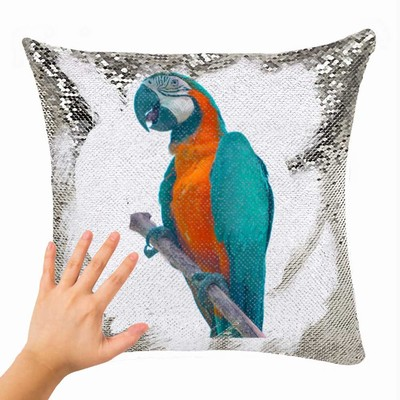 Pet Bird Dog Cat Engraved Customized Sequin Pillow Photo Gift