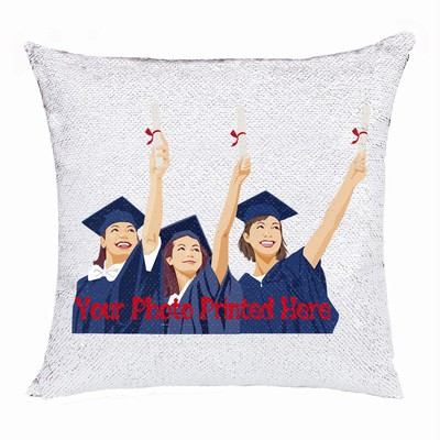 Custom Made Sequin Cushion Cover Photo Pillow Top Gift For Graduate