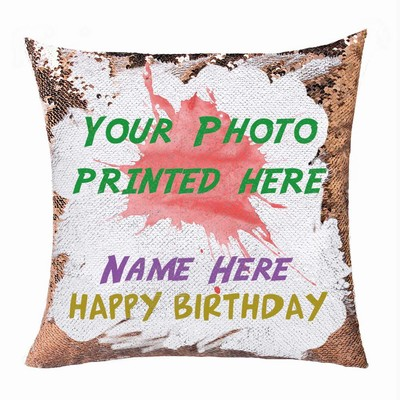 Personalized Sequin Name Photo Pillow Custom Gift For Birthday