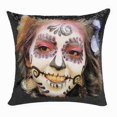 Personalized Scary Halloween Makeup Girl Sequin Magic Pillow