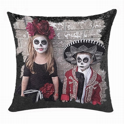 Terriable Spooky Halloween Makeup Sequin Pillow Kids Custom Gift